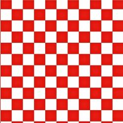 Tkanina szachownica 2cm biało czerwona