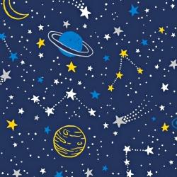 Tkanina galaktyka żółto niebieska na granatowym tle