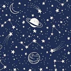 Tkanina galaktyka biała na granatowym tle