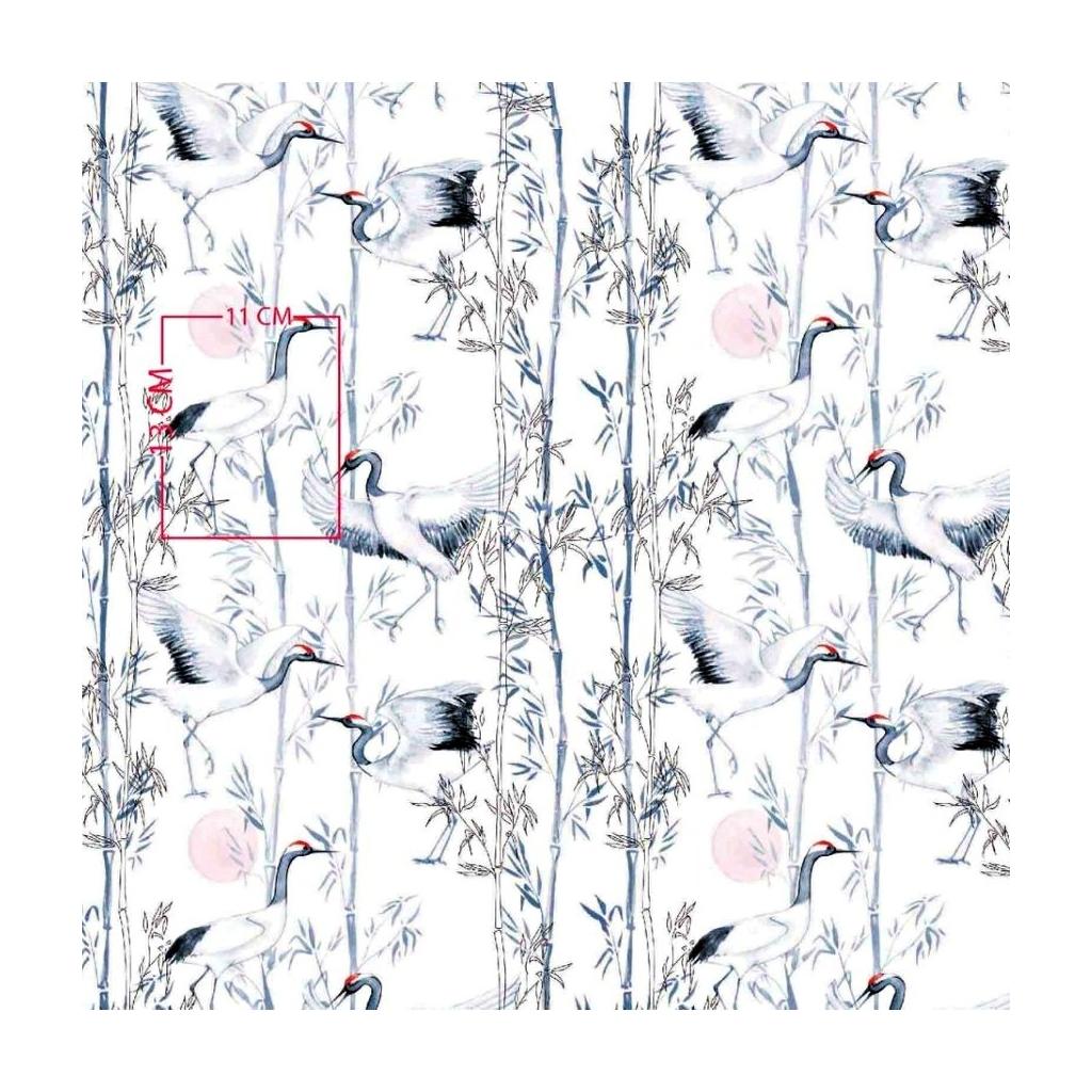 Tkanina w żurawie japońskie na białym tle