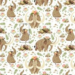 Tkanina mamuty beżowe na białym tle