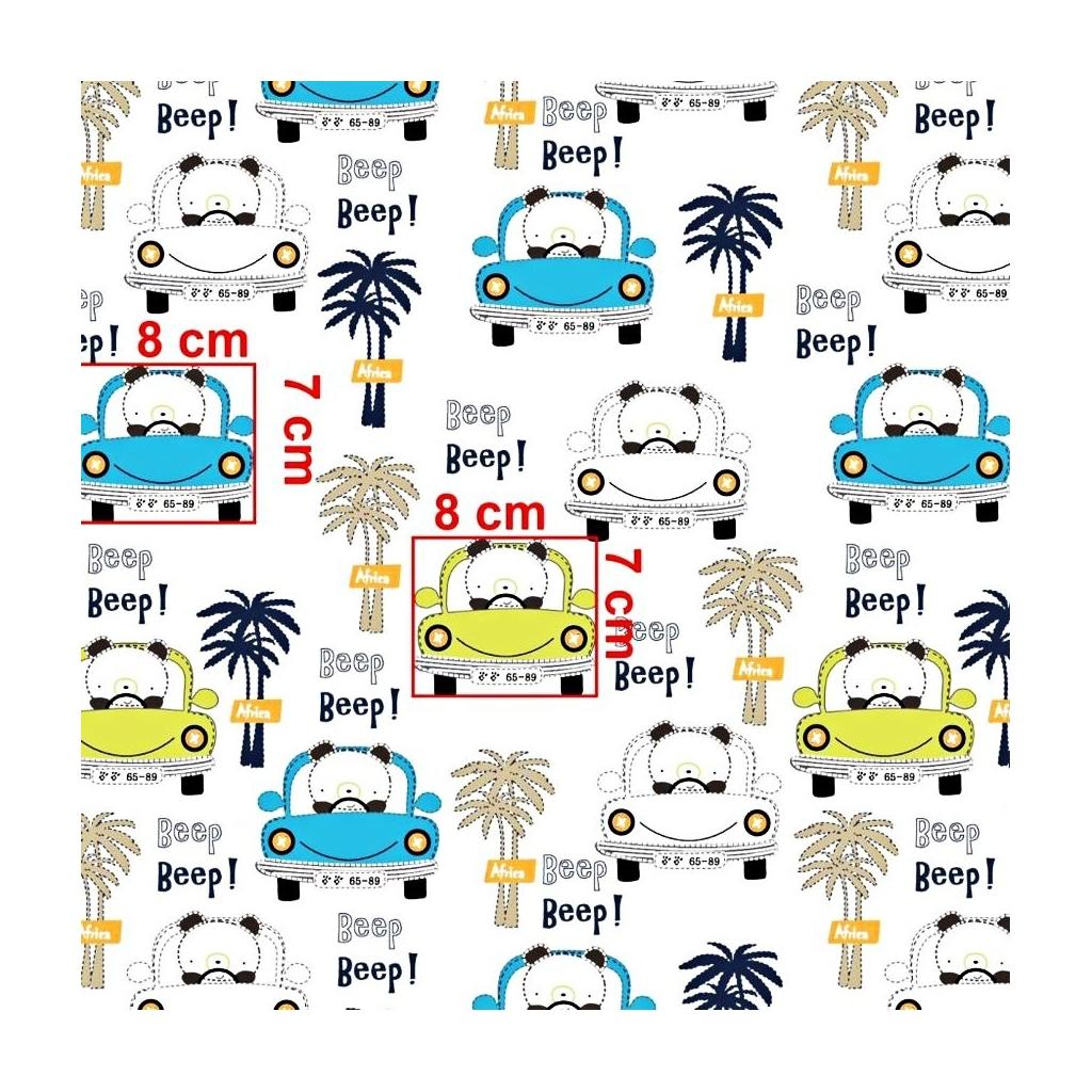Tkanina pandy beep! w samochodach niebiesko limonkowych na białym tle