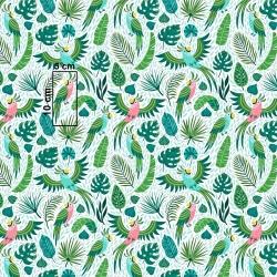 Tkanina w papugi zielono różówe na zielonych liściach