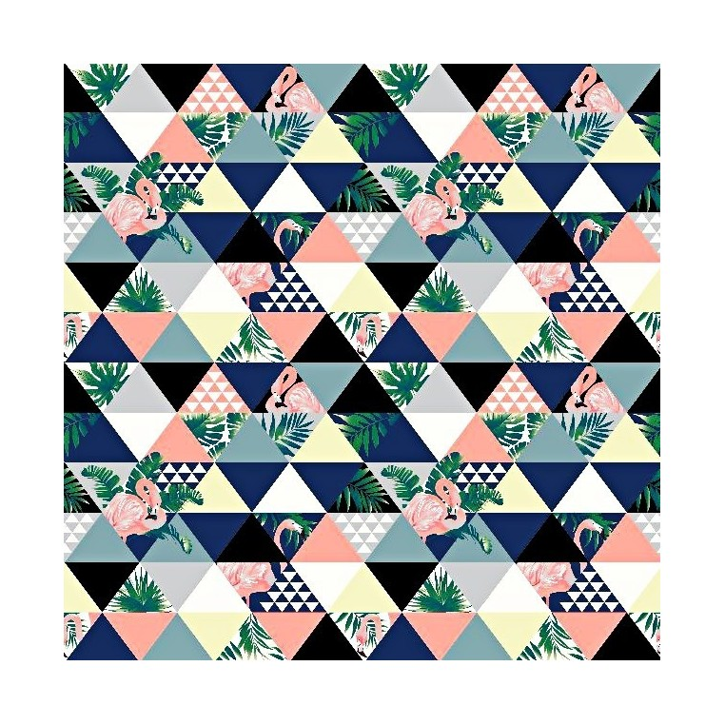 Tkanina flamingi w trójkątach różowo szaro niebieskie