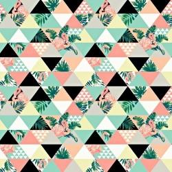 Tkanina flamingi w trójkątach różowo żółto miętowe