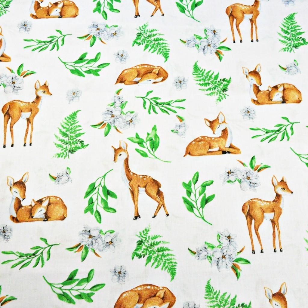 Tkanina sarenki z listkami na białym tle
