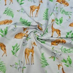 Tkanina sarenki z listkami na jasnym szarym tle