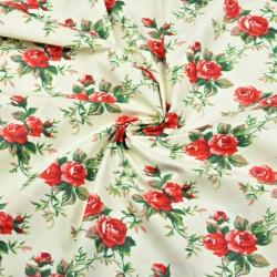 Tkanina w kwiaty różyczki czerwone na ecru tle