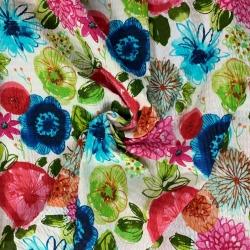 Tkanina Kora bawełniana kwiaty kolorowe na białym tle