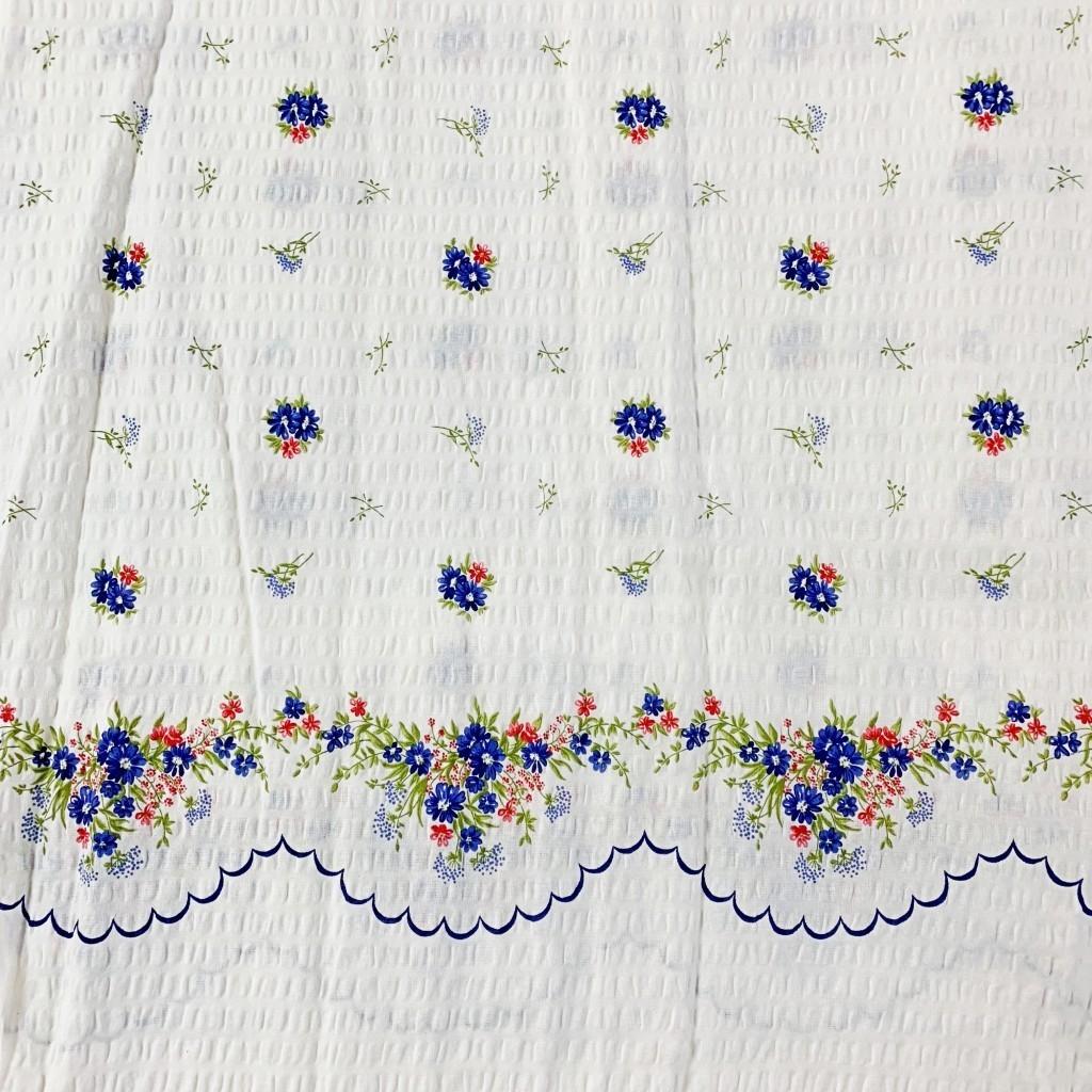 Tkanina Kora bawełniana chabry na białym tle