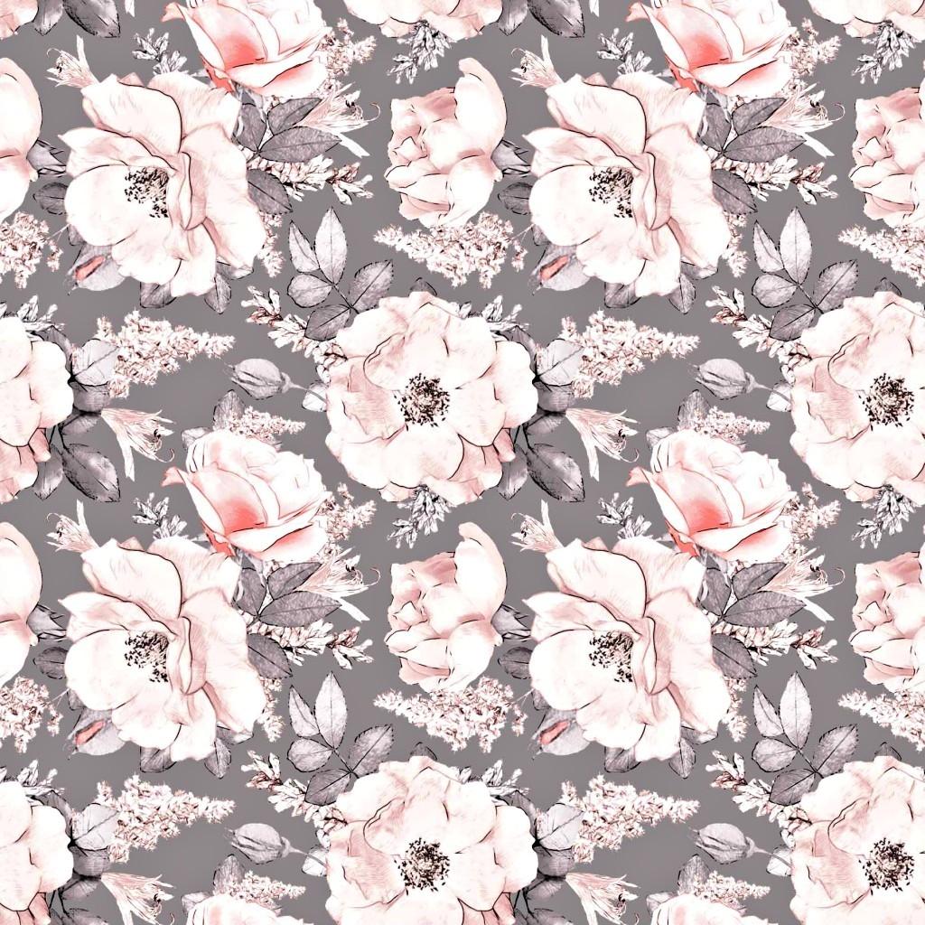 Tkanina w kwiaty dzikiej róży na szarym tle