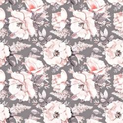 Tkanina w kwiaty dzikiej róży na szarym tle 220cm