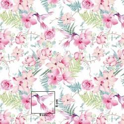 Tkanina w kwiaty różowe z kolibrami na białym tle 220cm