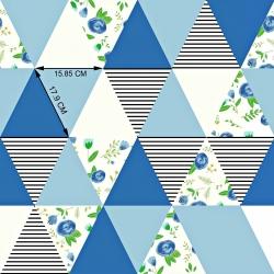 Tkanina łączka w trójkątach niebieskich