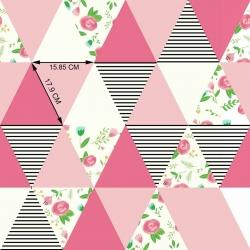 Tkanina łączka w trójkątach różowych