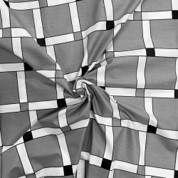 Tkanina krata w zapałki szara