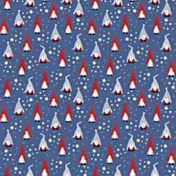 Tkanina wzór świąteczny skrzaty na granatowym tle