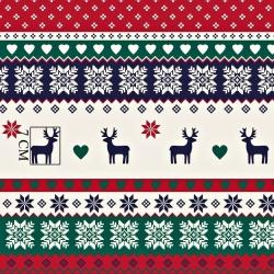 Tkanina Wzór świąteczny skandynawski granatowo czerwono zielony
