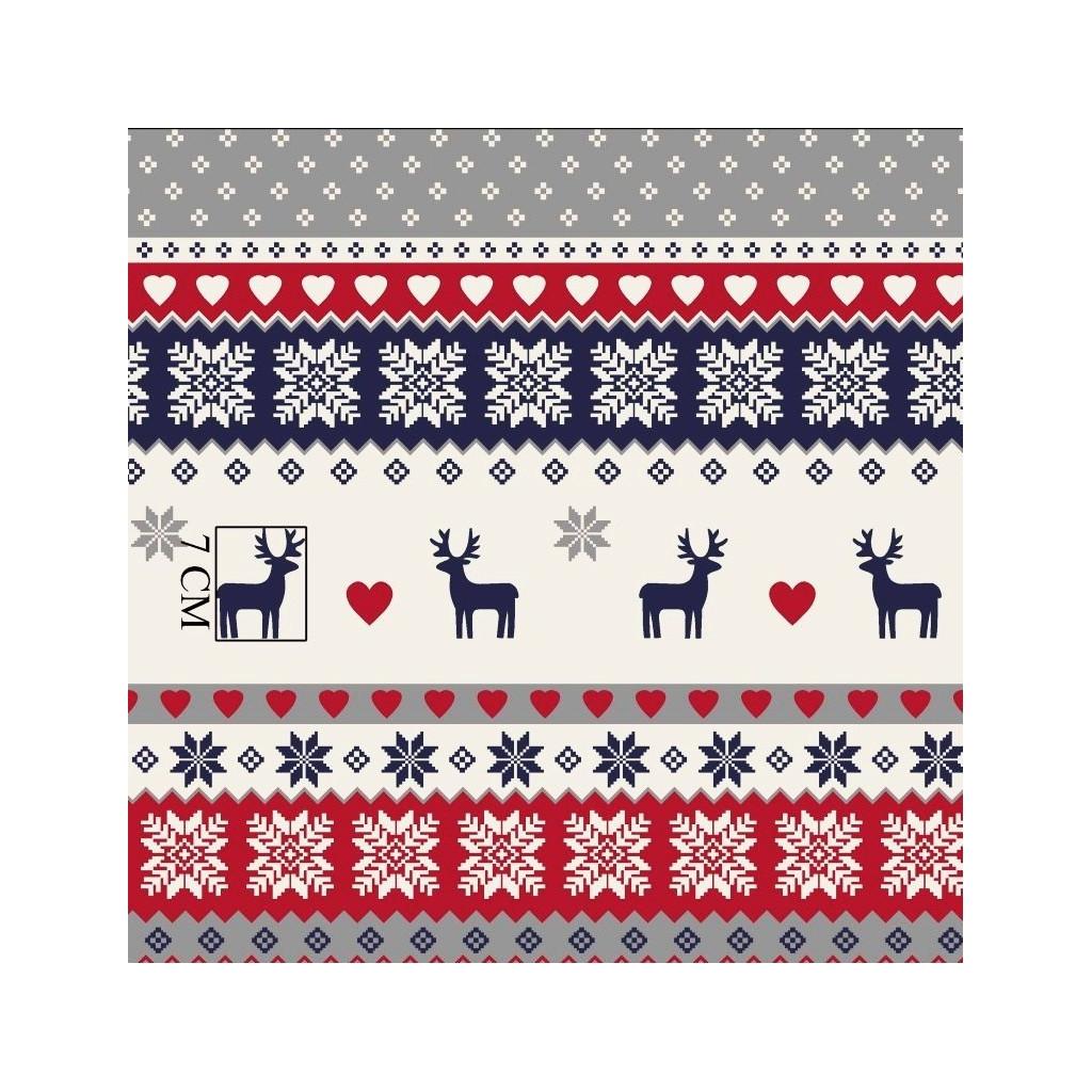 Tkanina Wzór świąteczny skandynawski granatowo czerwono szary