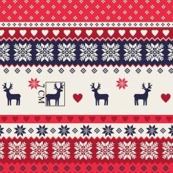 Tkanina Wzór świąteczny skandynawski granatowo czerwony