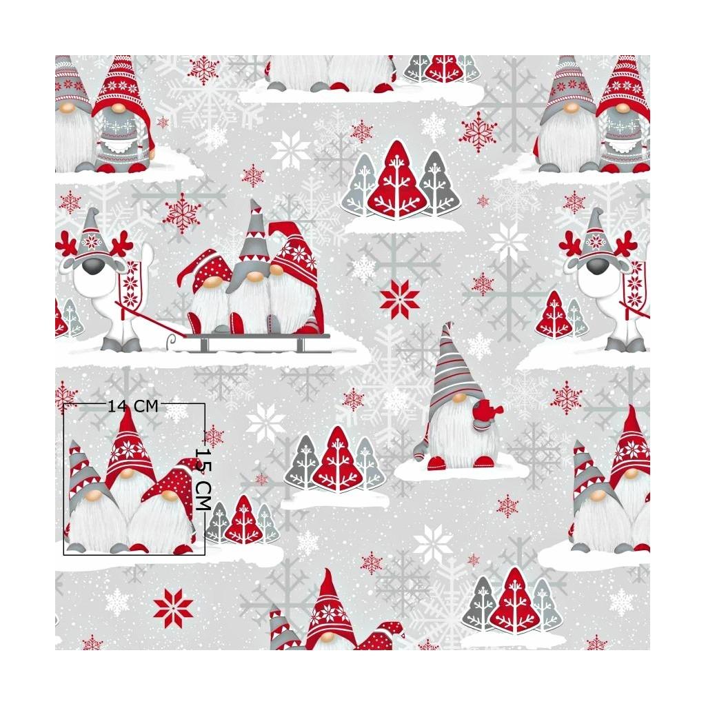 Tkanina Wzór świąteczny skrzaty z reniferem na szarym tle