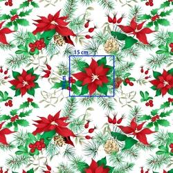 Tkanina Wzór świąteczny gwiazda betlejemska czerwono zielona na białym tle