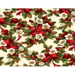 Tkanina Wzór świąteczny wiązanka czerwono zielona na ecru tle