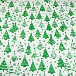 Tkanina wzór świąteczny choinki z bombkami zielone na białym tle