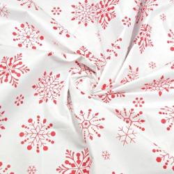 Tkanina wzór świąteczny śnieżynki duże czerwone na białym tle