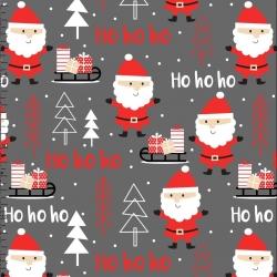 Tkanina wzór świąteczny mikołaje ciemno szarym tle