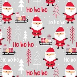 Tkanina wzór świąteczny mikołaje jasno szarym tle