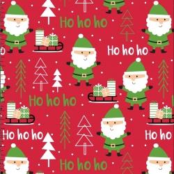 Tkanina wzór świąteczny mikołaje na czerwonym tle