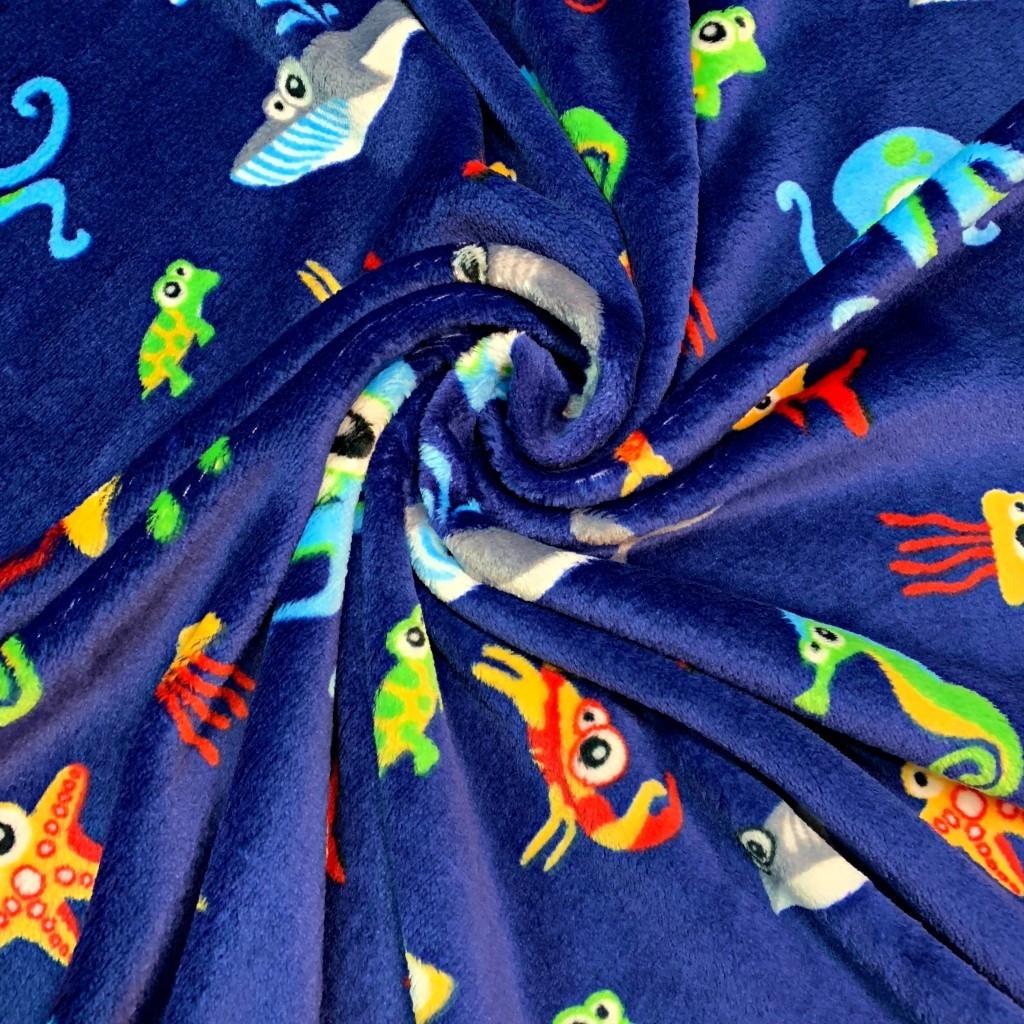 Tkanina Polar plus morskie stworzenia na granatowym tle