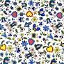 Tkanina wzór kaszubski niebieski na białym tle
