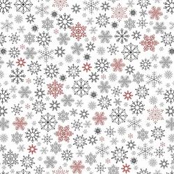 Tkanina wzór świąteczny śnieżynki czerwono grafitowe na białym tle