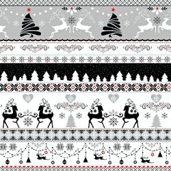 Tkanina wzór świąteczny jelonki czarno szare na białym tle