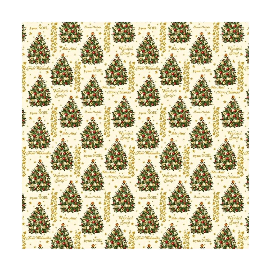 Tkanina Wzór świąteczny złocone choinki z bombkami na ecru tle