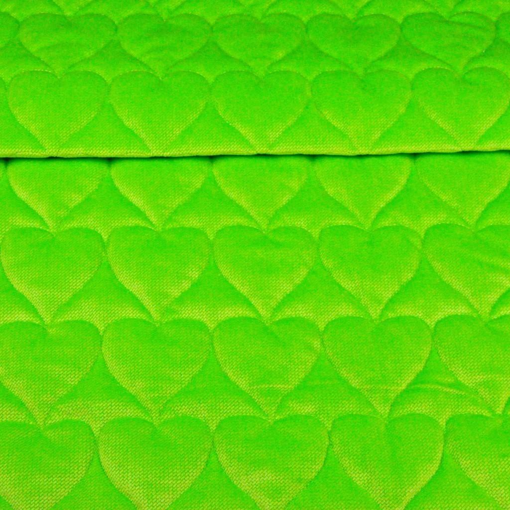 Velvet pikowany limonkowy - serduszka