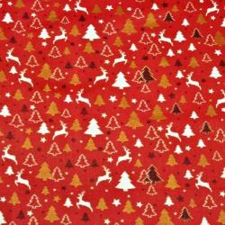 Tkanina  wzór świąteczny MINI złocone i połyskujące renifery i choinki  na czerwonym tle