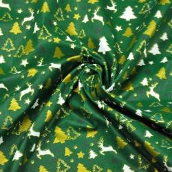 Tkanina Wzór świąteczny MINI złocone renifery i choinki na zielonym tle