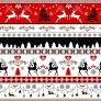Tkanina wzór świąteczny jelonki czarno czerwone na białym tle