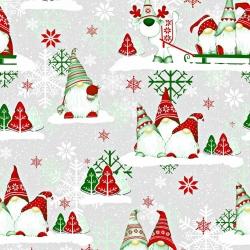 Tkanina Wzór świąteczny skrzaty zielono czerwone z reniferem na szarym tle