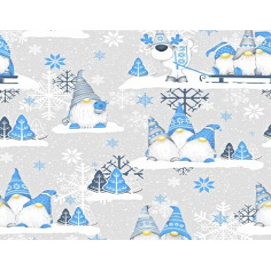Tkanina Wzór świąteczny skrzaty niebieskie z reniferem na szarym tle