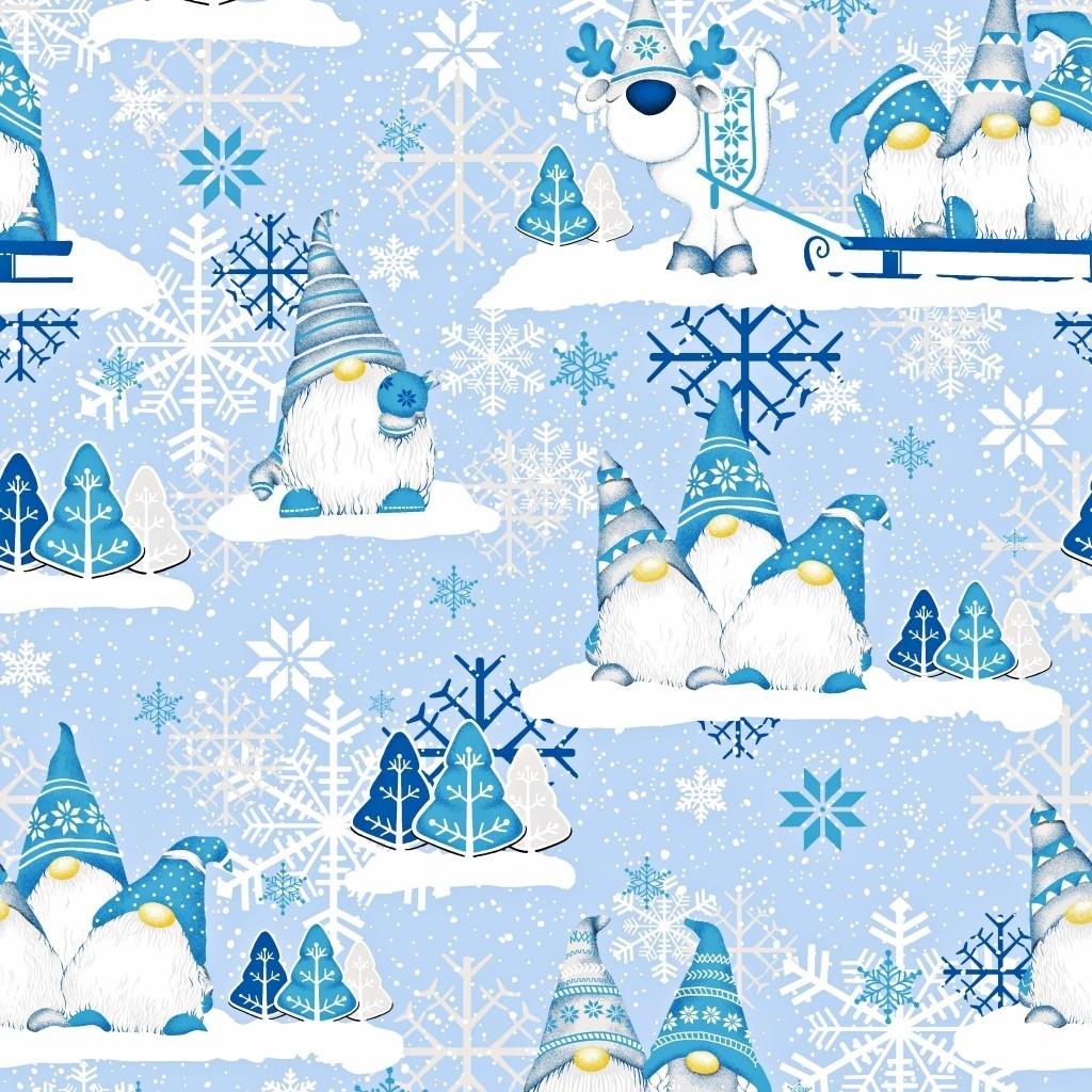 Tkanina Wzór świąteczny skrzaty niebieskie z reniferem na niebieskim tle