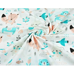Tkanina w zwierzęta na łące morelowo miętowe na białym tle