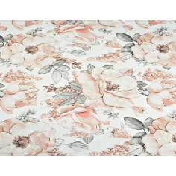 Tkanina w kwiaty dzikiej róży białym tle