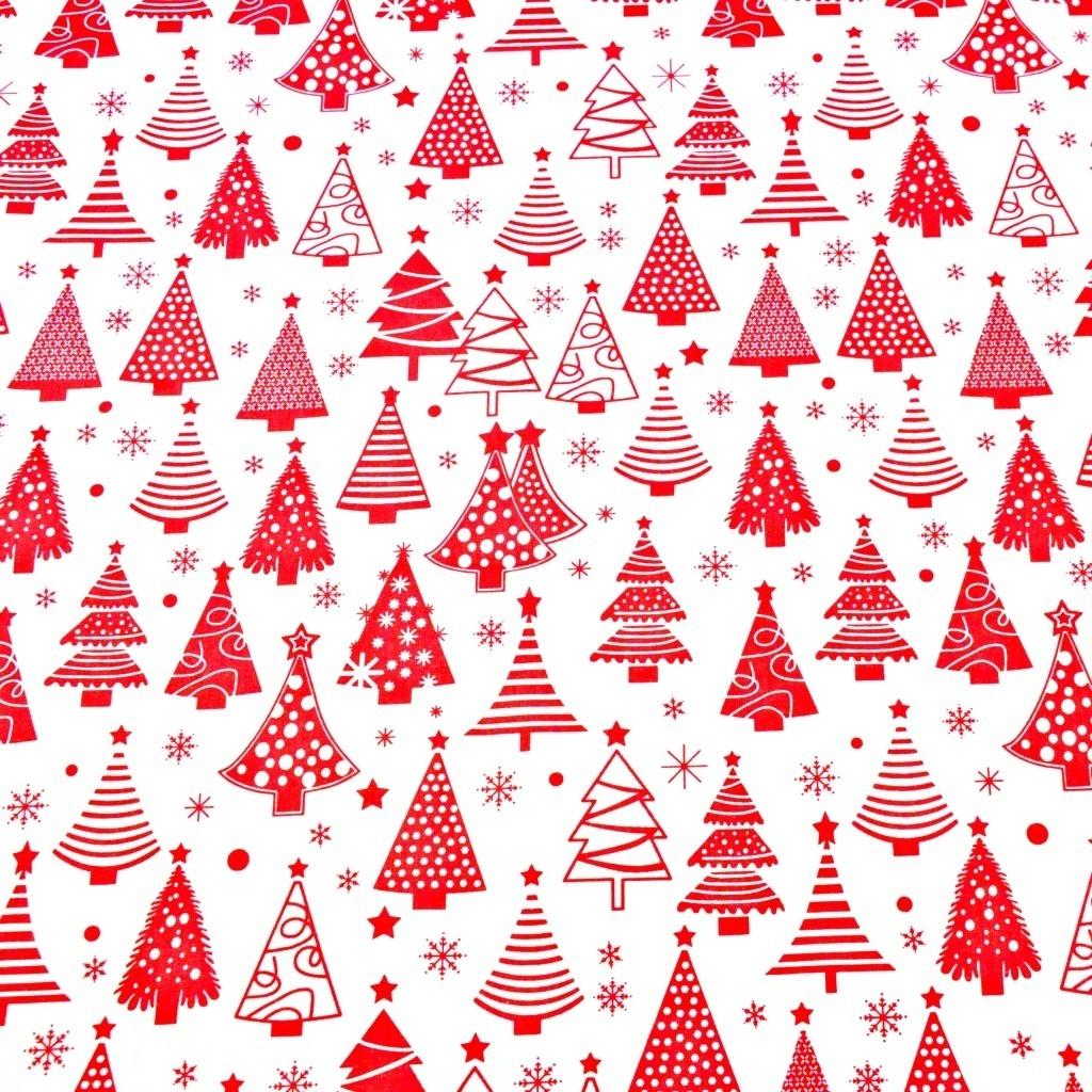 Tkanina Wzór świąteczny choinki z bombkami czerwone na białym tle
