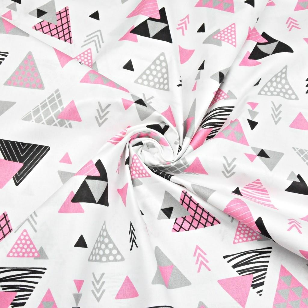 Tkanina w trójkąty ze strzałkami szaro różowe na białym tle