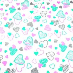 Tkanina w serca LOVE różowo miętowo szare na białym tle