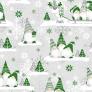 Tkanina Wzór świąteczny skrzaty zielone z reniferem na szarym tle